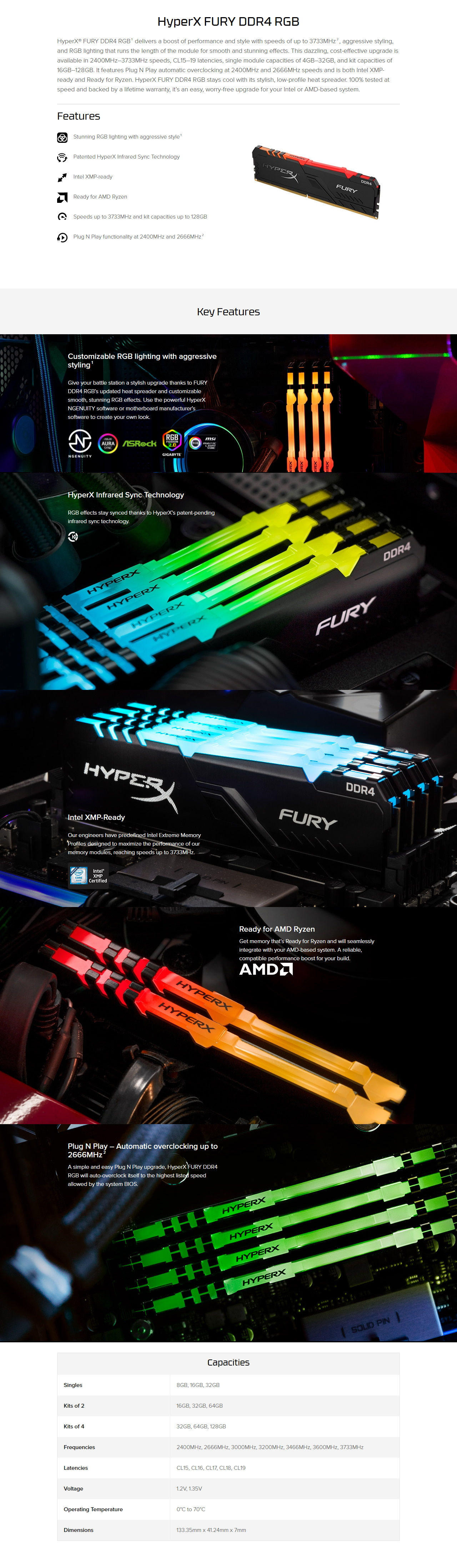 A large marketing image providing additional information about the product Kingston 16GB Kit (2x8GB) DDR4 HyperX Fury RGB C16 3200MHz - Additional alt info not provided