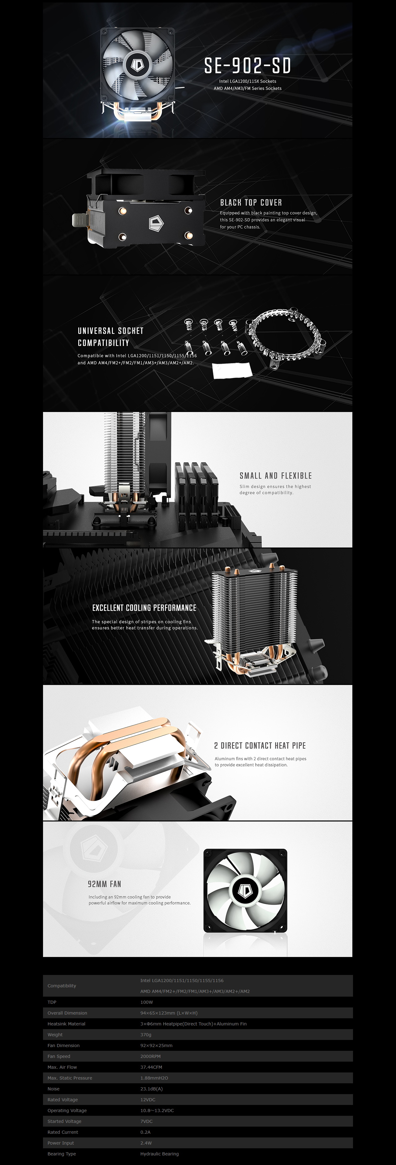 A large marketing image providing additional information about the product ID-COOLING Sweden Series SE-902SD CPU Cooler - Additional alt info not provided