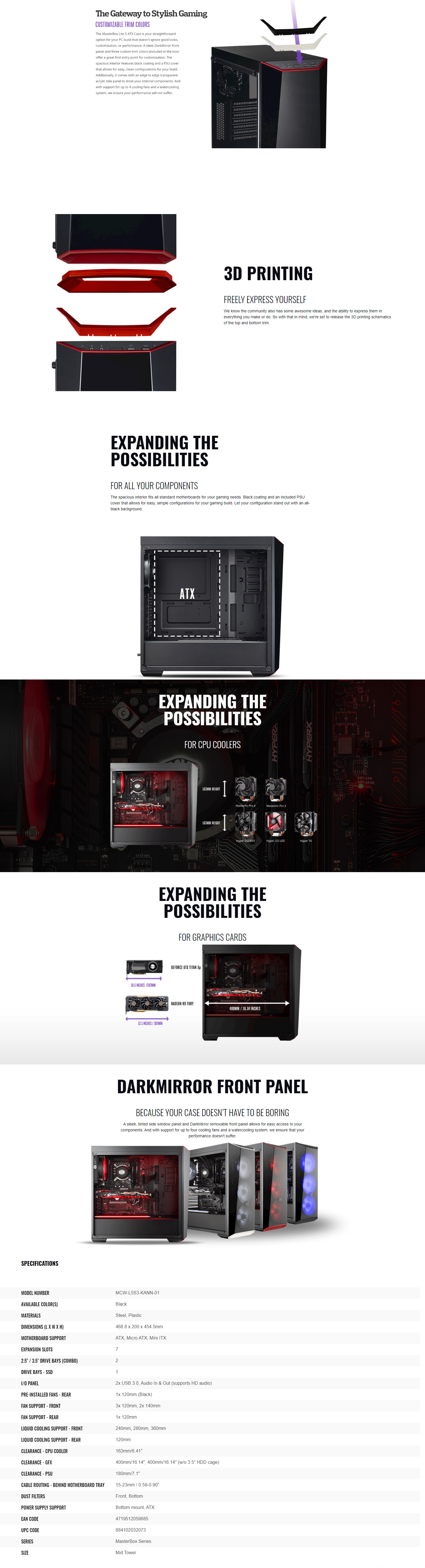 A large marketing image providing additional information about the product Cooler Master MasterBox Lite 5 Mid Tower Case w/Side Panel Window - Additional alt info not provided