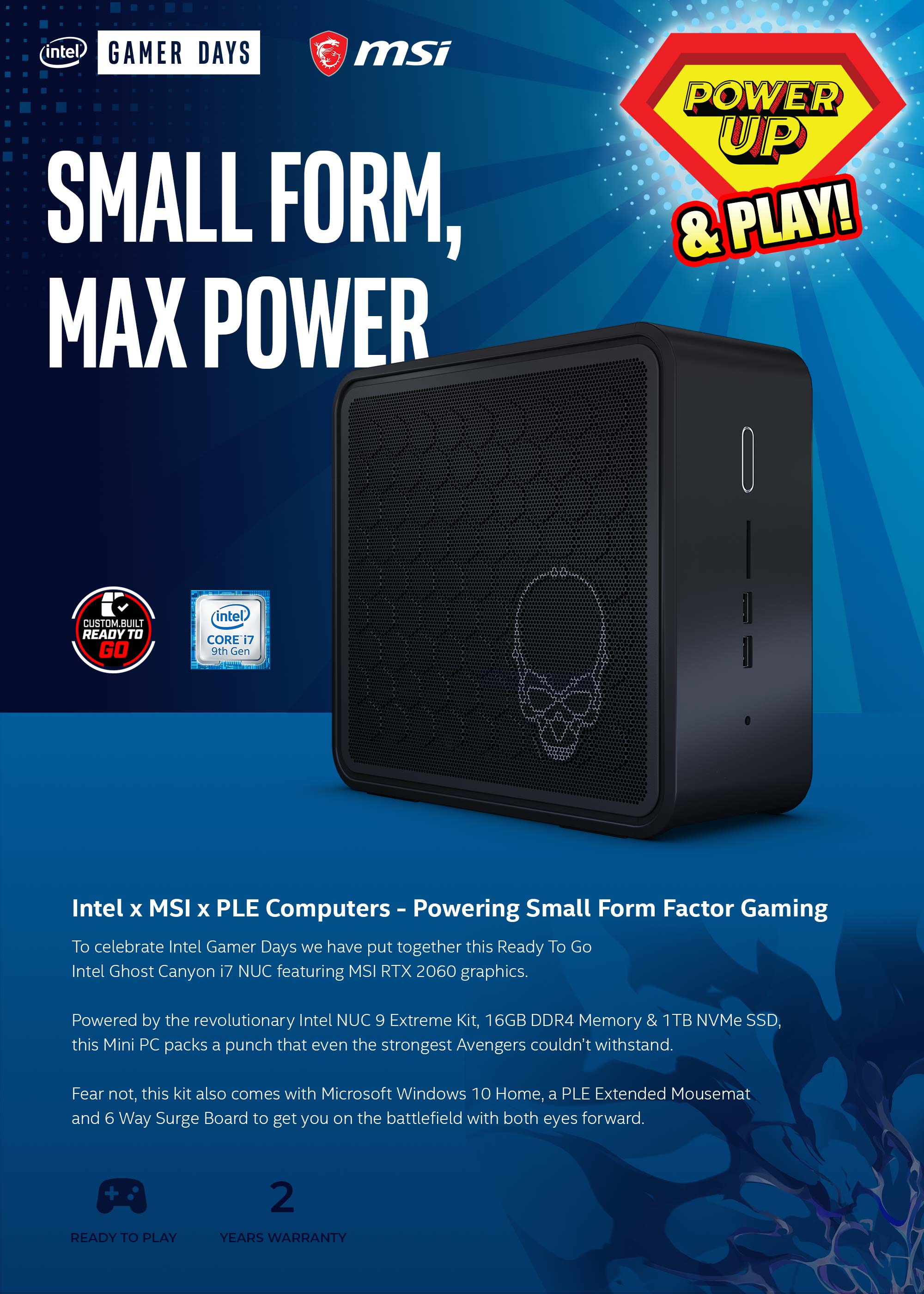 A large marketing image providing additional information about the product PLE i7 Ghost Canyon Ready To Go Mini PC - Additional alt info not provided