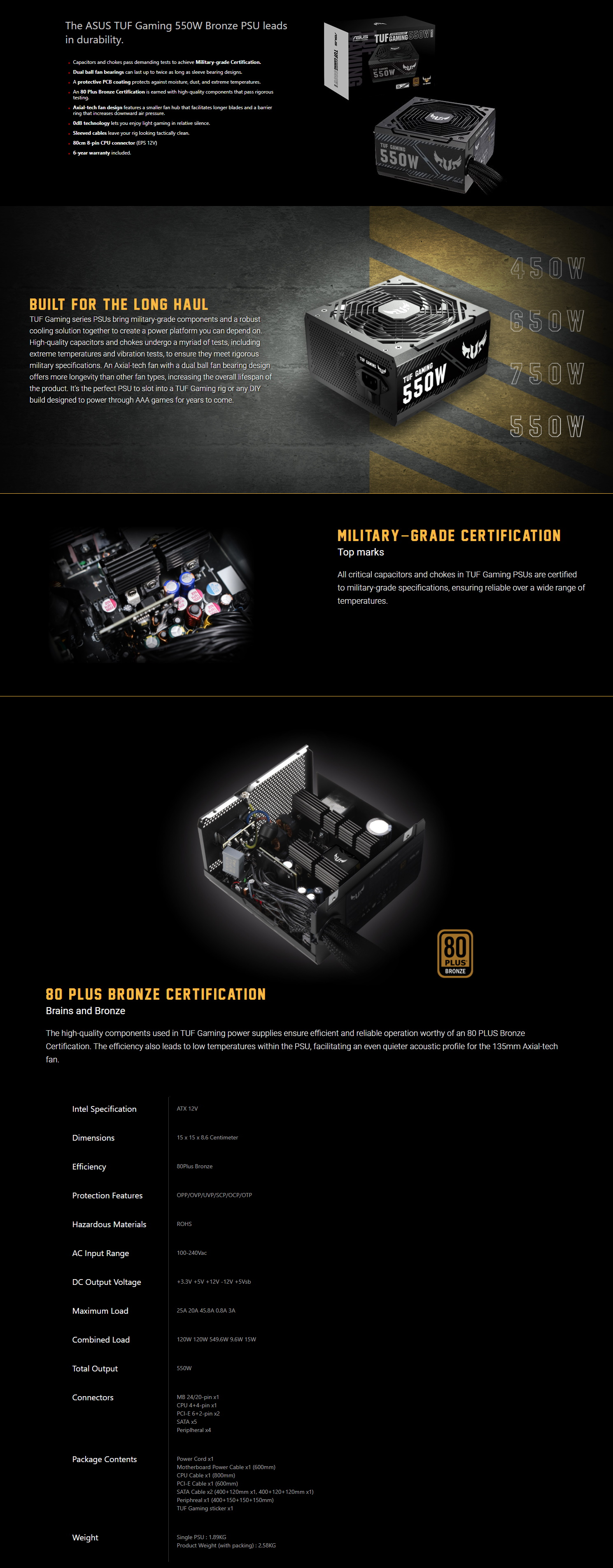 A large marketing image providing additional information about the product ASUS TUF-Gaming 550W 80PLUS Bronze Power Supply - Additional alt info not provided