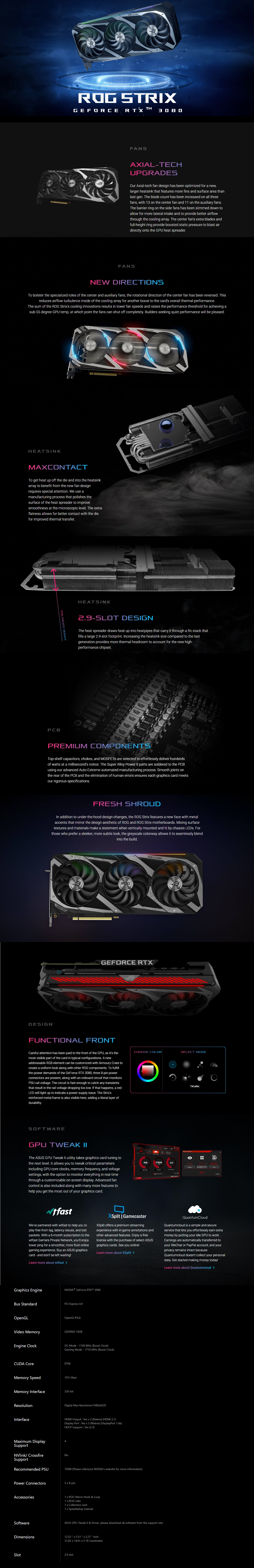 A large marketing image providing additional information about the product ASUS GeForce RTX 3080 ROG Strix Gaming 10GB GDDR6X - Additional alt info not provided