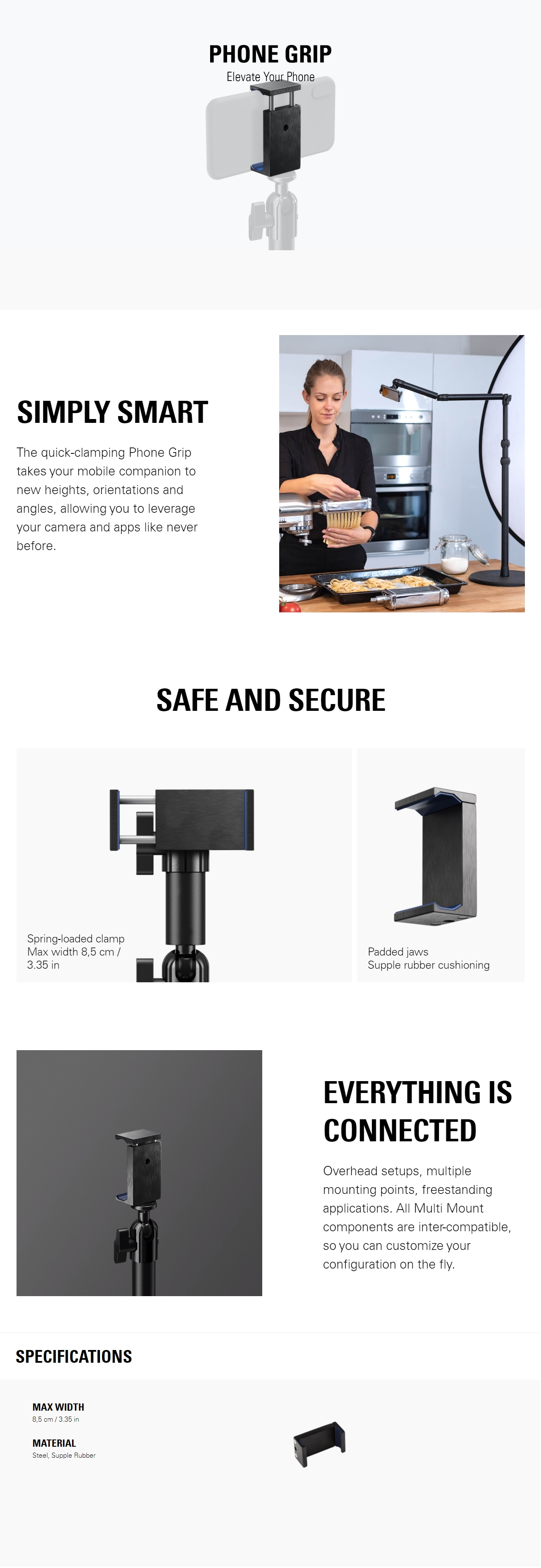 A large marketing image providing additional information about the product Elgato Multi Mount System - Phone Grip - Additional alt info not provided