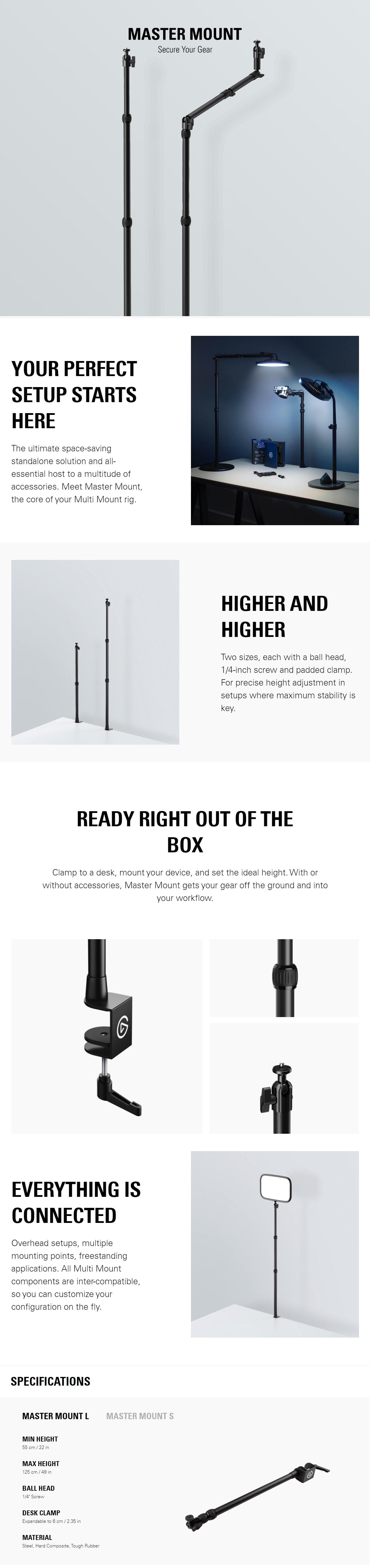A large marketing image providing additional information about the product Elgato Multi Mount System - Master Mount Large - Additional alt info not provided