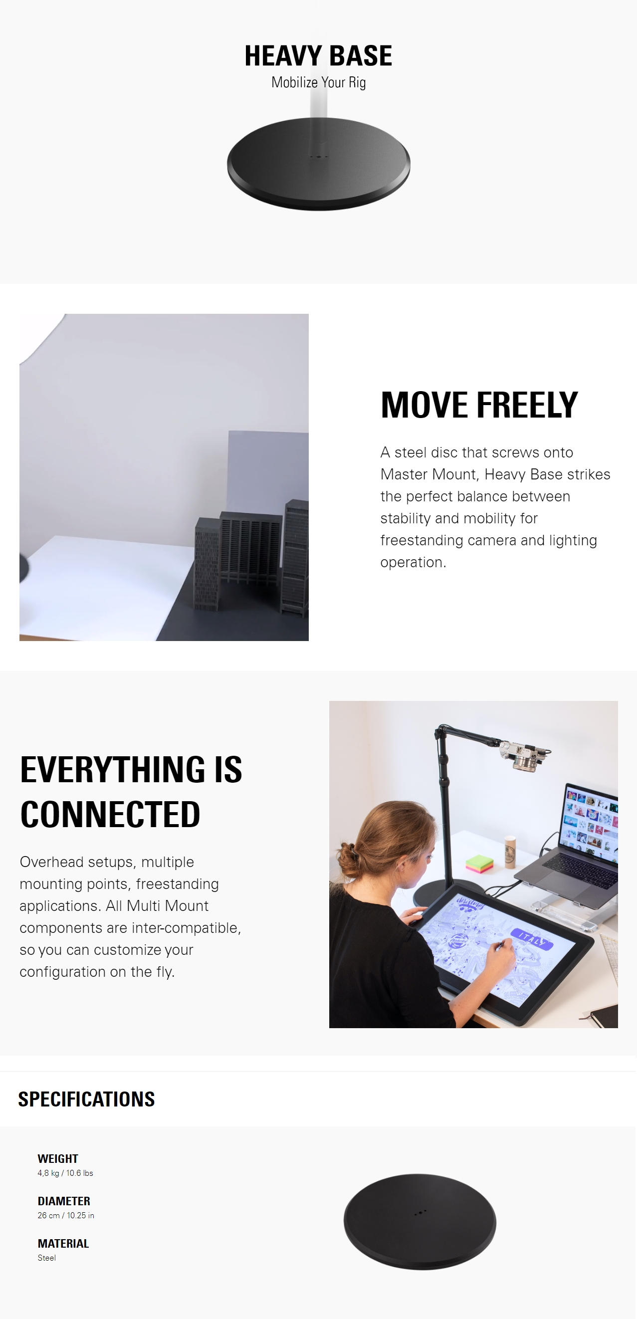 A large marketing image providing additional information about the product Elgato Multi Mount System - Heavy Base - Additional alt info not provided