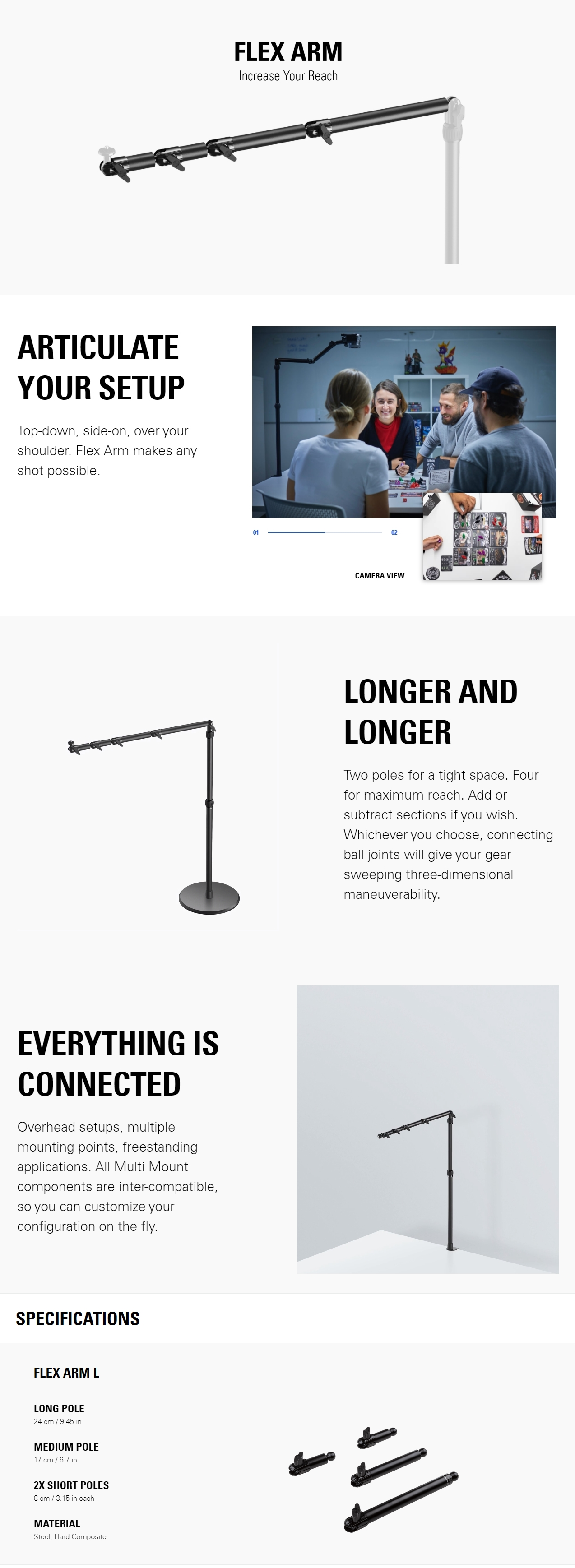 A large marketing image providing additional information about the product Elgato Multi Mount System - Flex Arm Large - Additional alt info not provided