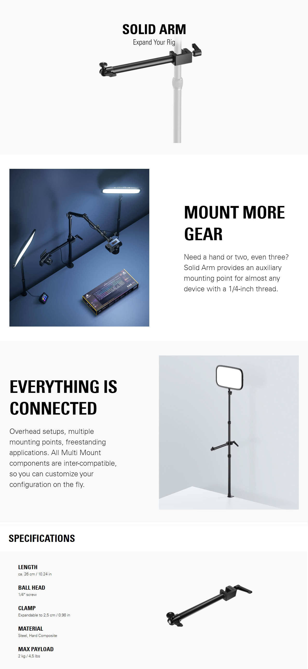 A large marketing image providing additional information about the product Elgato Multi Mount System - Solid Arm - Additional alt info not provided
