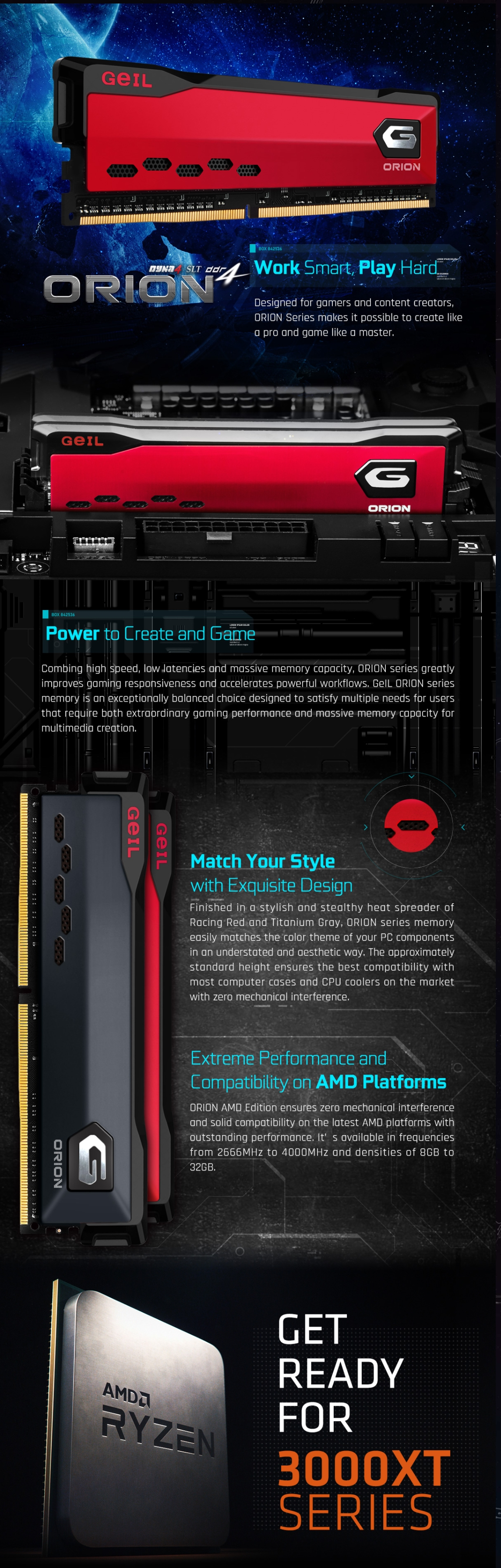 A large marketing image providing additional information about the product GeIL 16GB Kit (2x8GB) DDR4 Orion Charcoal Grey AMD Edition C16 3200MHz - Additional alt info not provided