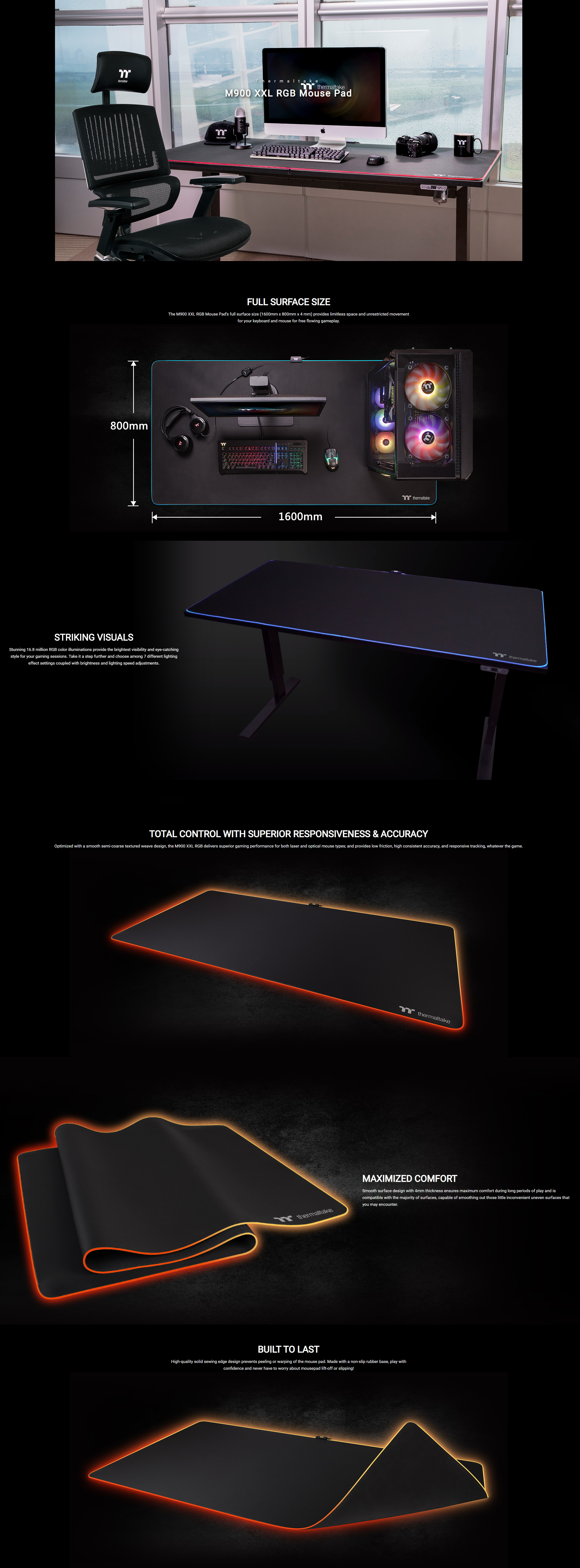 A large marketing image providing additional information about the product Thermaltake M900 XXL RGB Gaming Mouse Pad - Additional alt info not provided