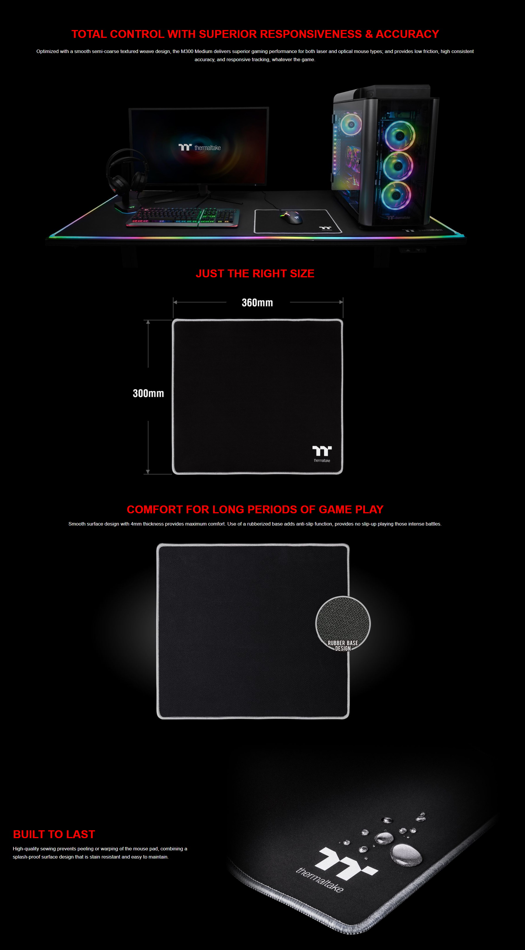 A large marketing image providing additional information about the product Thermaltake M300 Medium Gaming Mouse Pad - Additional alt info not provided
