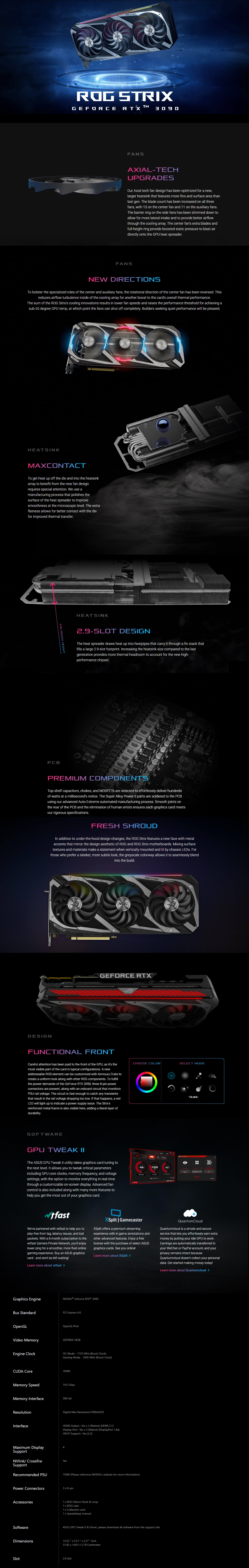 A large marketing image providing additional information about the product ASUS GeForce RTX 3090 ROG Strix Gaming 24GB GDDR6X - Additional alt info not provided