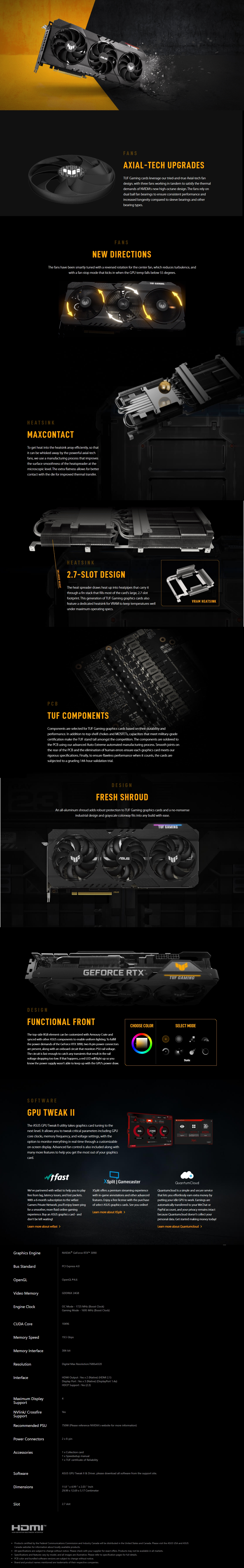 A large marketing image providing additional information about the product ASUS GeForce RTX 3090 TUF Gaming 24GB GDDR6X - Additional alt info not provided