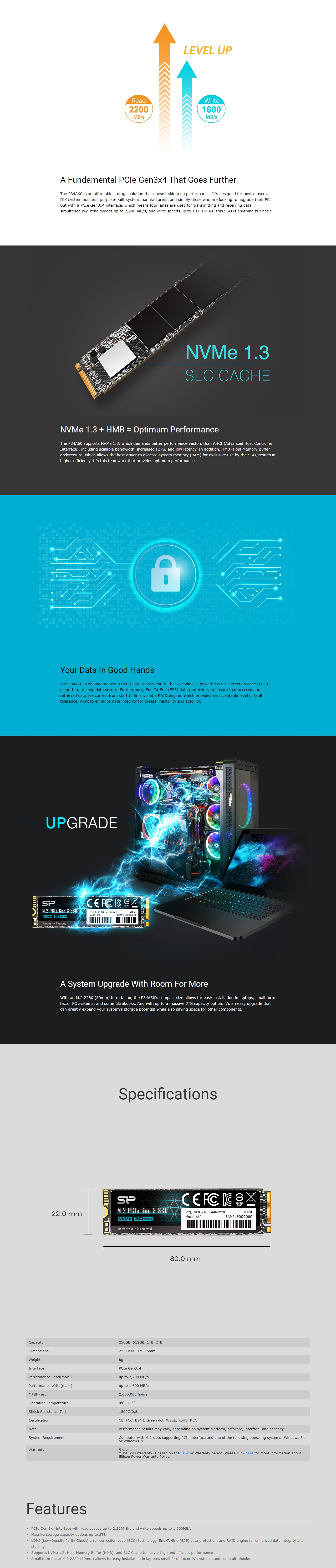 A large marketing image providing additional information about the product Silicon Power P34A60 256GB M.2 2280 PCIe SSD - Additional alt info not provided