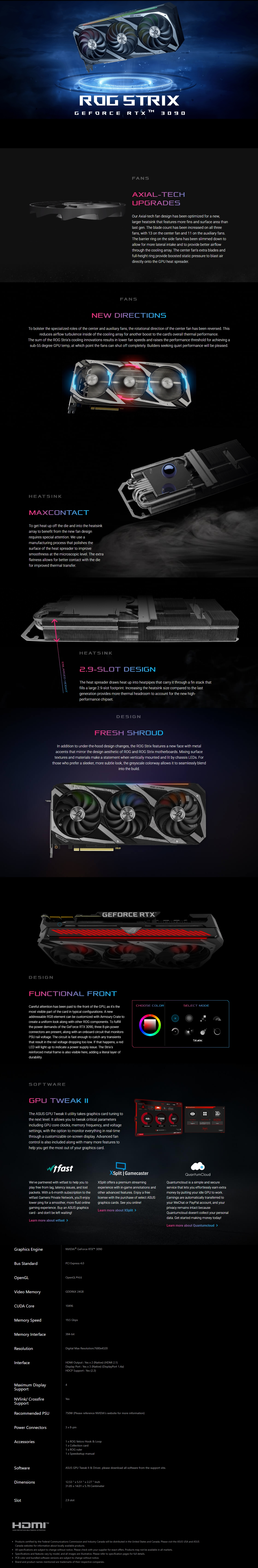 A large marketing image providing additional information about the product ASUS GeForce RTX 3090 ROG Strix Gaming OC 24GB GDDR6X - Additional alt info not provided