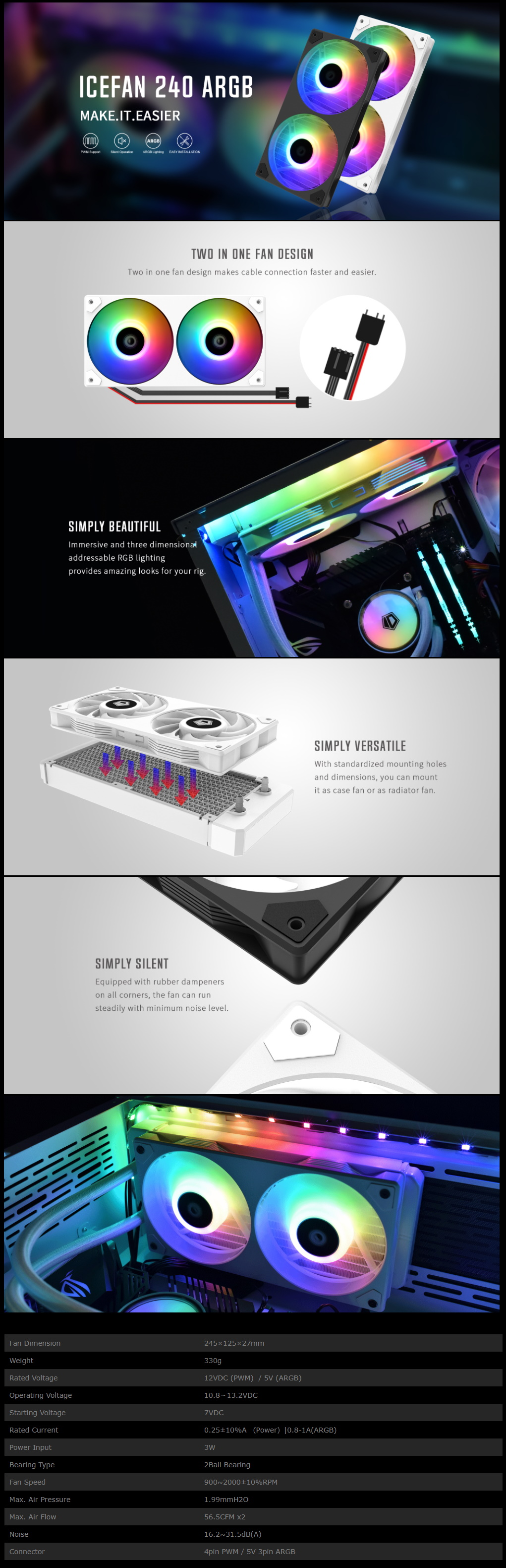 A large marketing image providing additional information about the product ID-COOLING IceFan 240 ARGB 2-in-1 Cooling Fan  - Additional alt info not provided