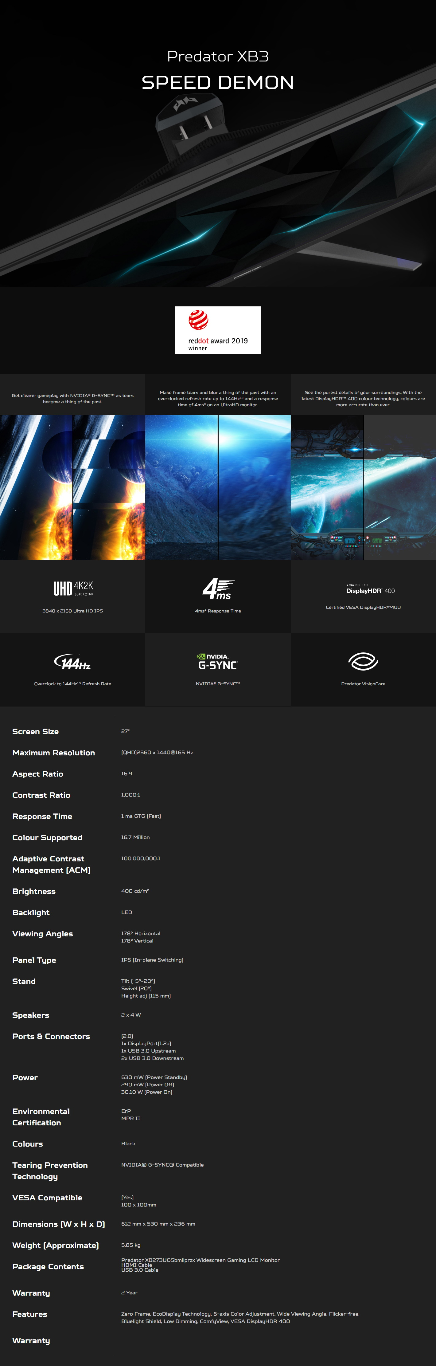 """A large marketing image providing additional information about the product Acer XB273UGS 27"""" QHD 165Hz 1MS IPS LED Gaming Monitor - Additional alt info not provided"""