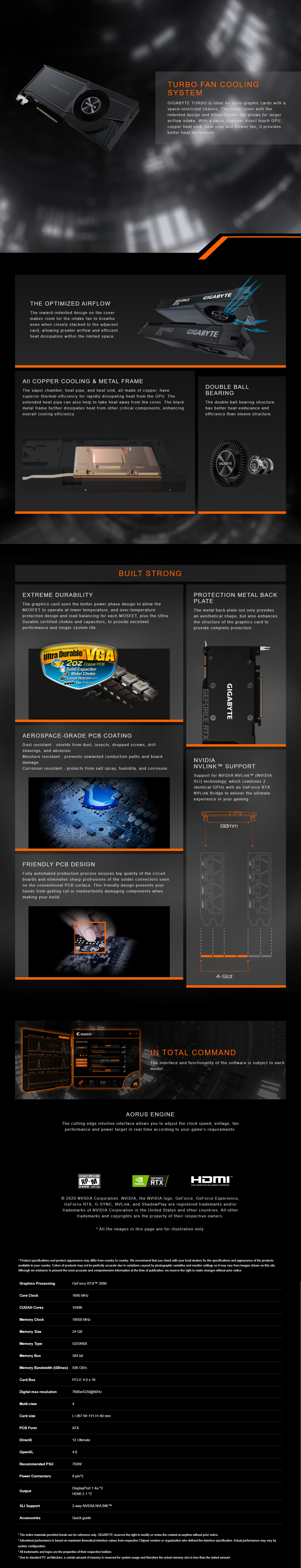A large marketing image providing additional information about the product Gigabyte GeForce RTX 3090 Turbo 24GB GDDR6X - Additional alt info not provided