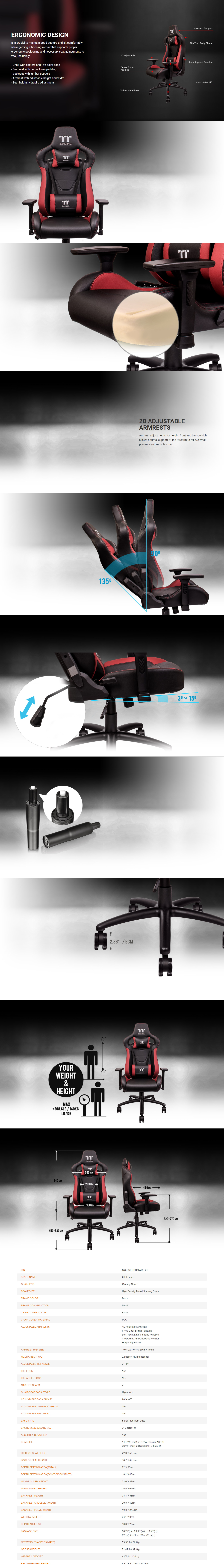 A large marketing image providing additional information about the product Thermaltake Gaming U Fit Gaming Chair - Black & Red - Additional alt info not provided