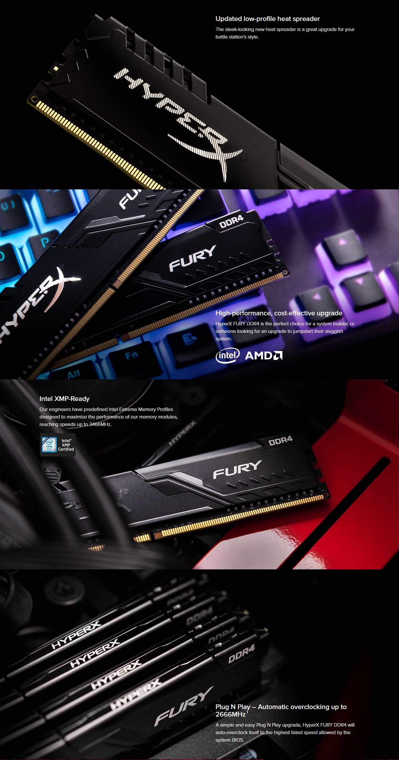 A large marketing image providing additional information about the product Kingston 32GB Kit (2x16GB) DDR4 HyperX Fury Black C16 2666MHz - Additional alt info not provided