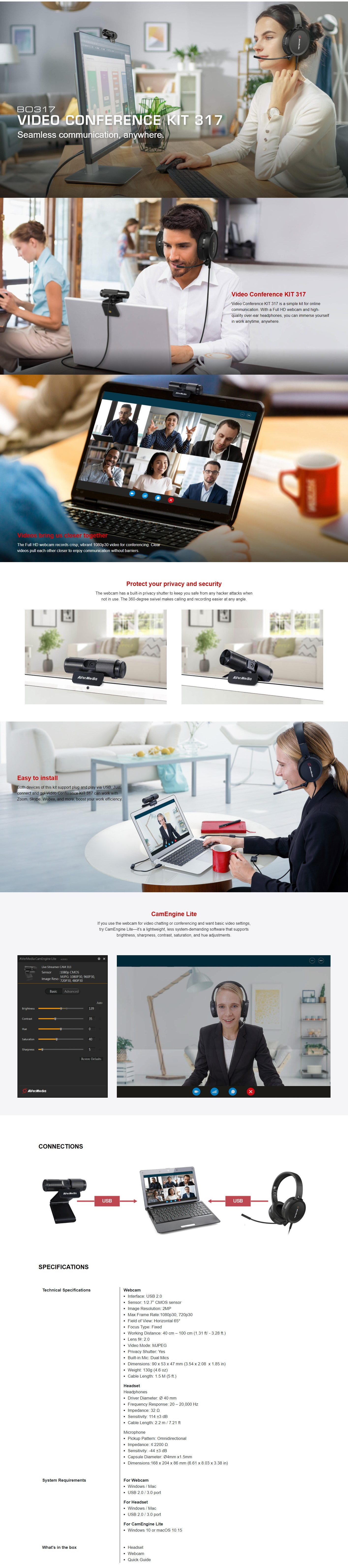 A large marketing image providing additional information about the product AVerMedia BO317 Webcam & Headset Kit - Additional alt info not provided