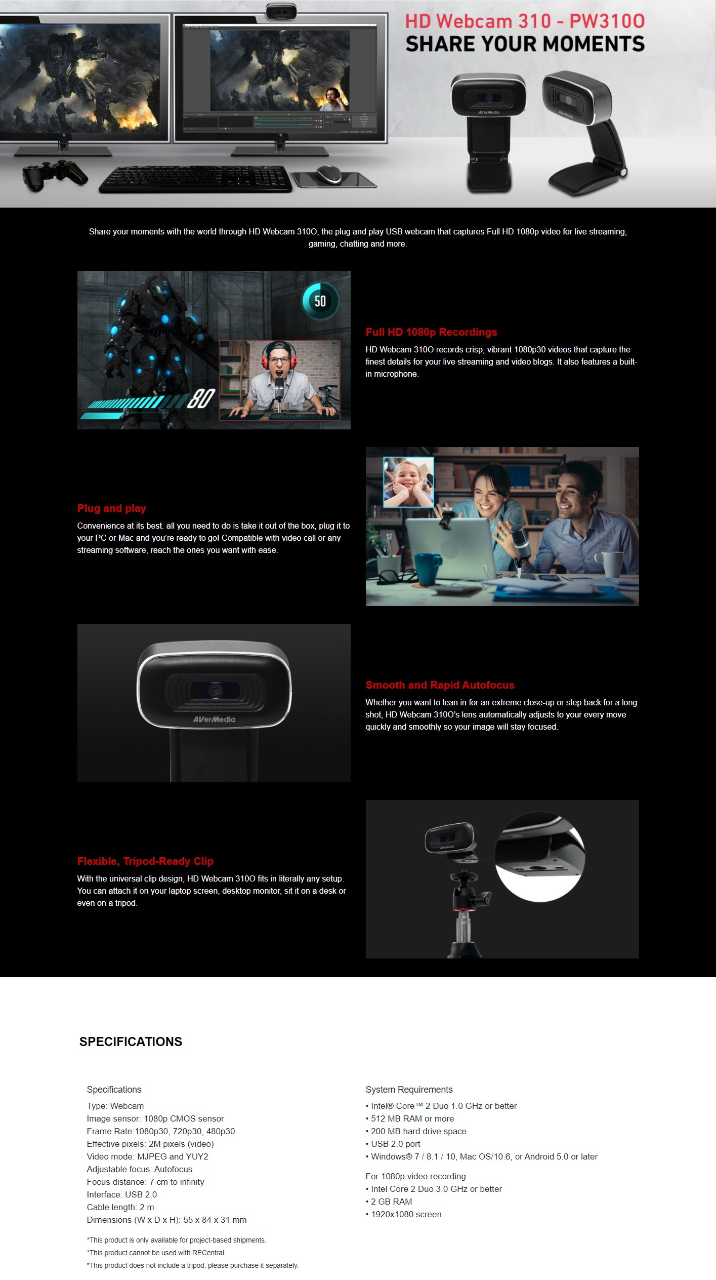 A large marketing image providing additional information about the product AVerMedia PW310 1080p Autofocus Webcam - Additional alt info not provided