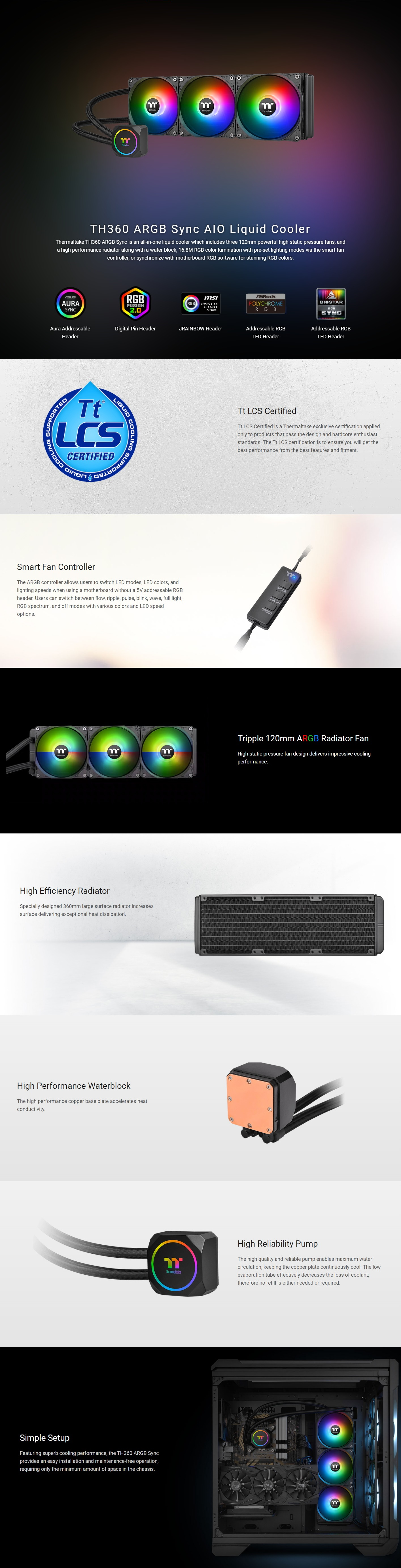 A large marketing image providing additional information about the product Thermaltake TH360 ARGB AIO Liquid CPU Cooler - Additional alt info not provided