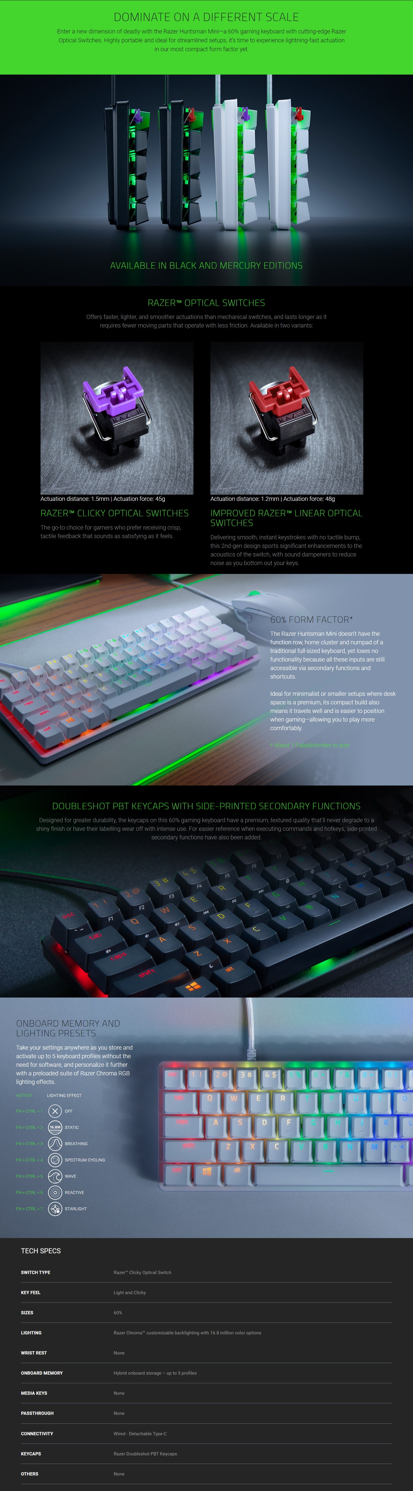 A large marketing image providing additional information about the product Razer Huntsman Mini RGB Opto-Mechanical Keyboard Mercury Gaming Keyboard - Clicky - Additional alt info not provided