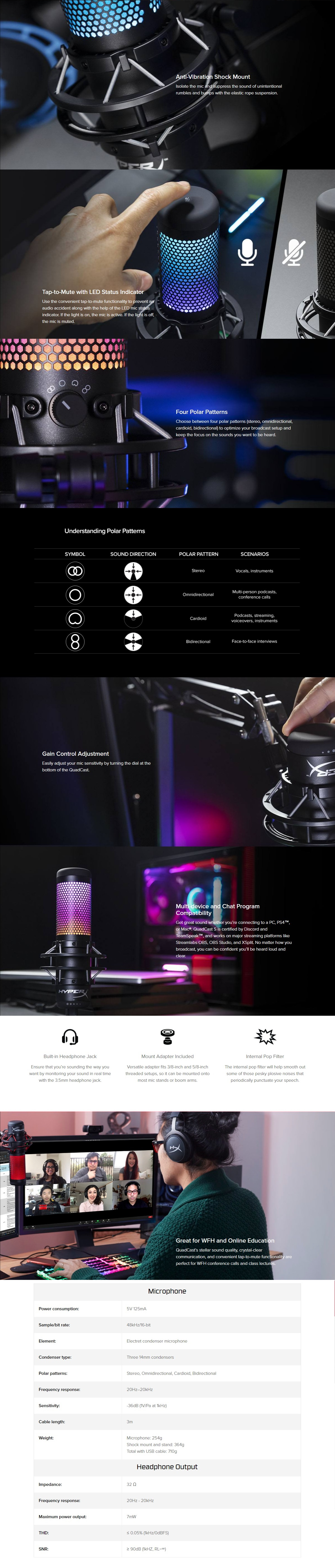 A large marketing image providing additional information about the product Kingston HyperX QuadCast S RGB USB Condenser Microphone - Additional alt info not provided