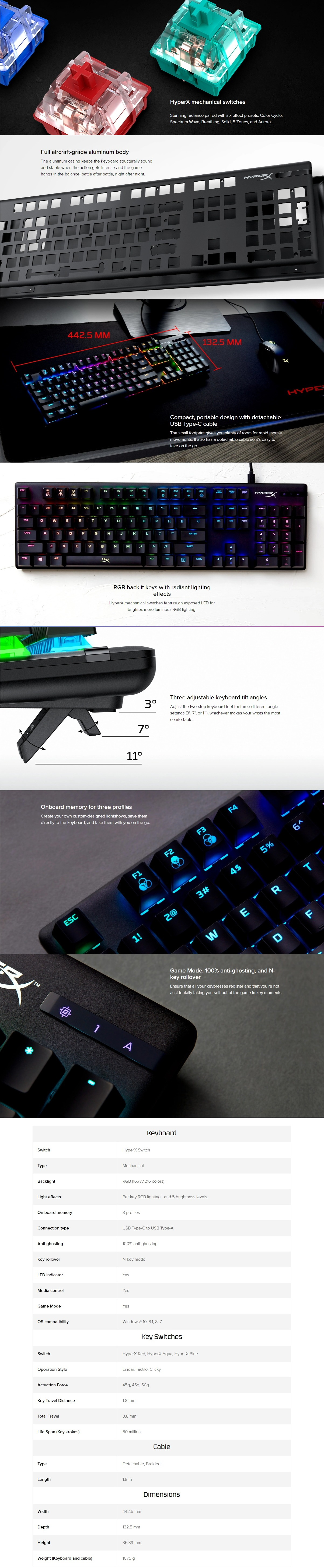 A large marketing image providing additional information about the product Kingston HyperX Alloy Origins RGB Mechanical Gaming Keyboard (MX Blue Switch) - Additional alt info not provided