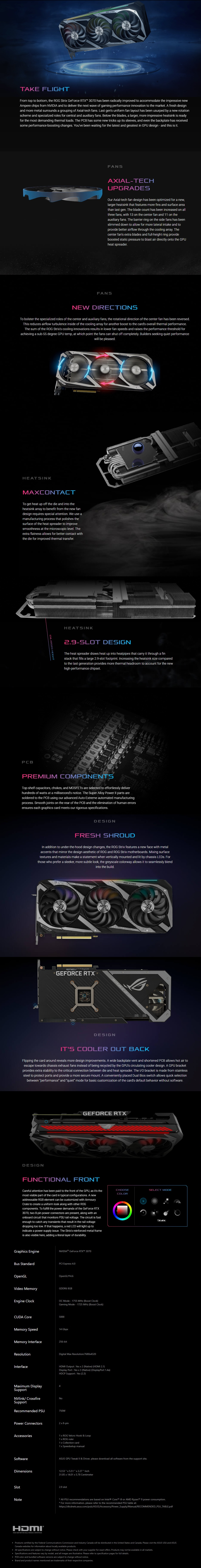 A large marketing image providing additional information about the product ASUS GeForce RTX 3070 ROG Strix Gaming 8GB GDDR6 - Additional alt info not provided