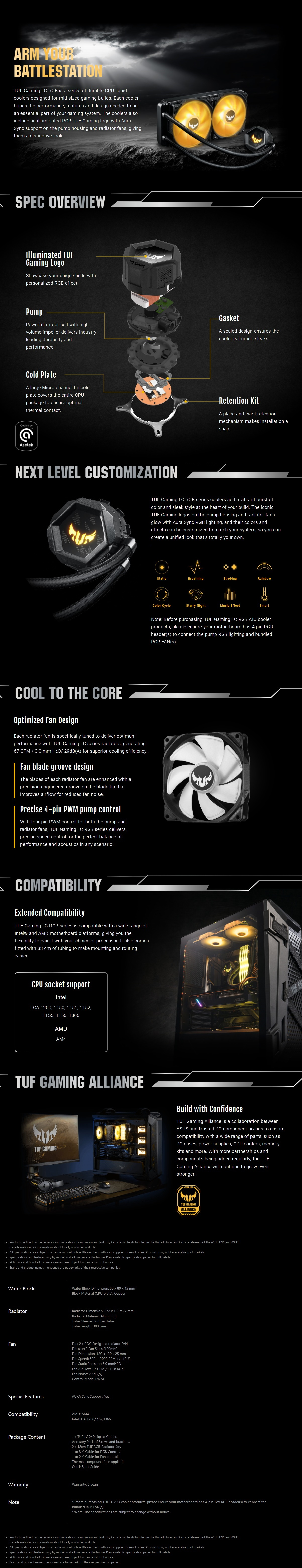 A large marketing image providing additional information about the product ASUS TUF Gaming LC 240mm RGB AIO Liquid Cooler - Additional alt info not provided
