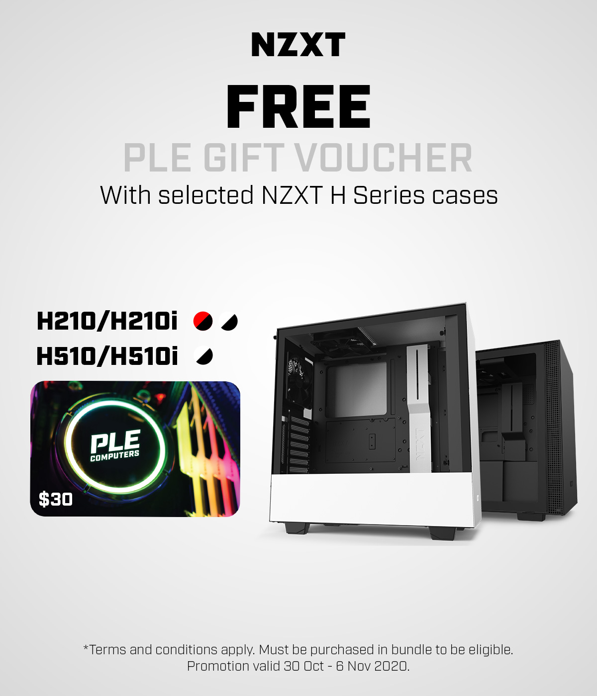 A large marketing image providing additional information about the product NZXT H210 or H510 Selected Case with free $30 PLE Gift Card - Additional alt info not provided