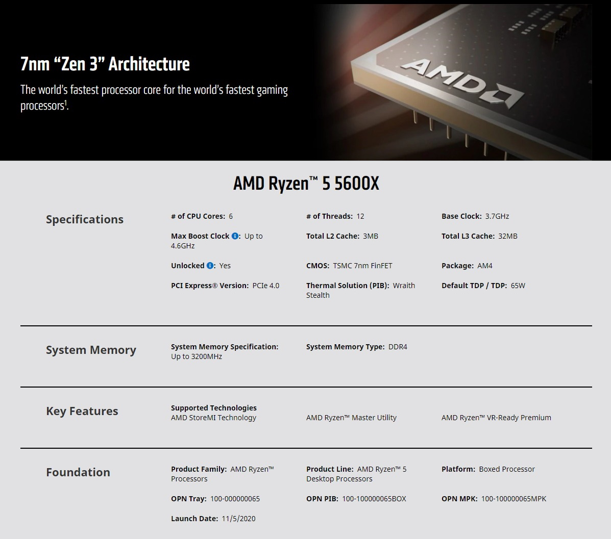 A large marketing image providing additional information about the product AMD Ryzen 5 5600X 3.7Ghz 6 Core 12 Thread AM4 - With Wraith Stealth Cooler - Additional alt info not provided