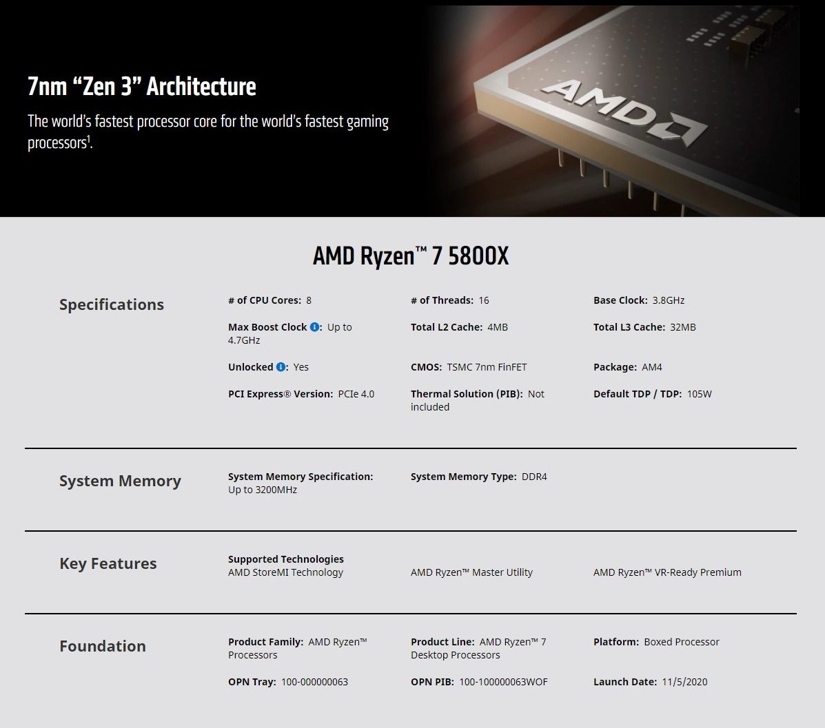 A large marketing image providing additional information about the product AMD Ryzen 7 5800X 3.8Ghz 8 Core 16 Thread AM4 - No HSF Retail Box - Additional alt info not provided