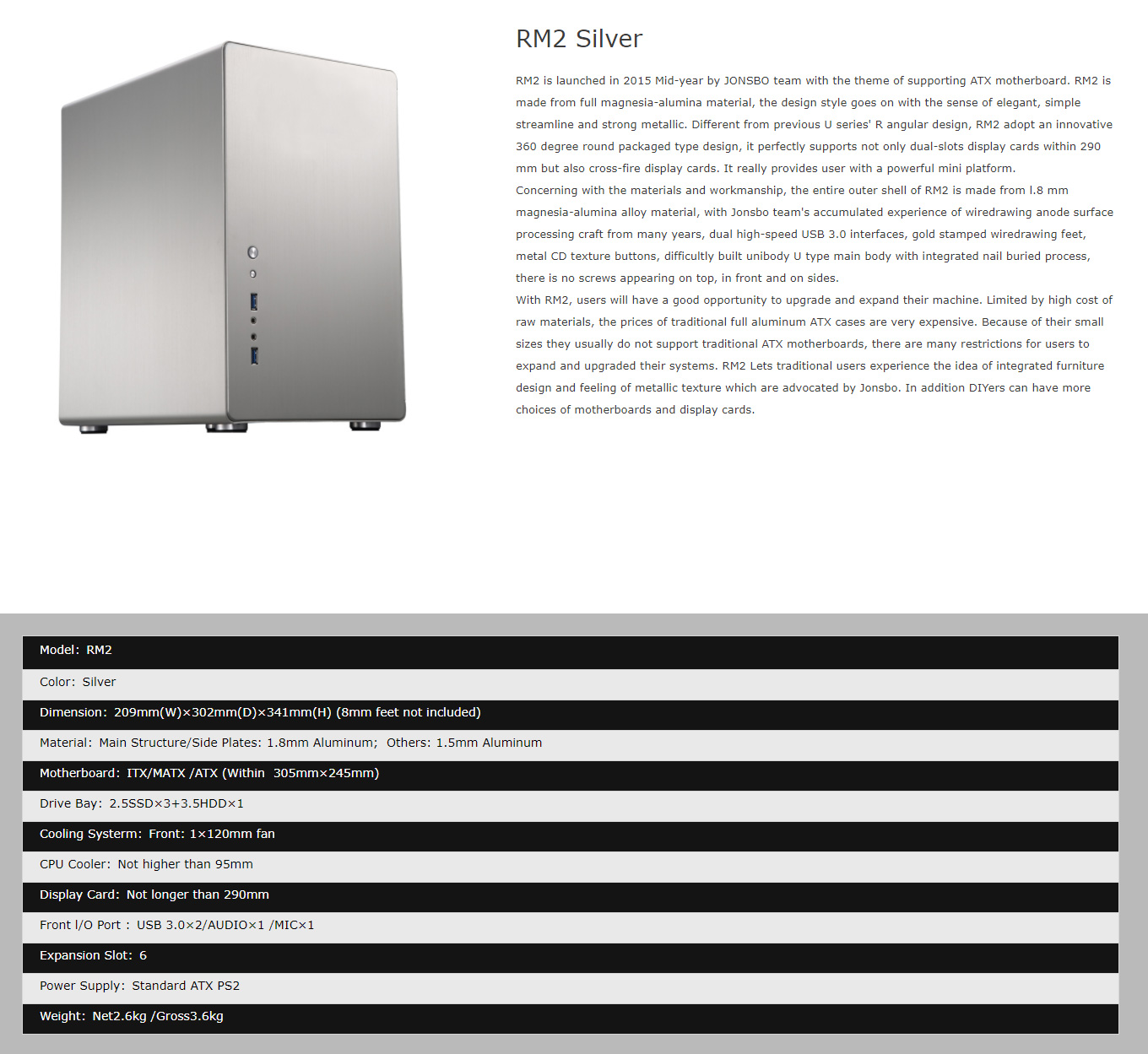 A large marketing image providing additional information about the product Jonsbo RM2 Silver ATX Case - Additional alt info not provided
