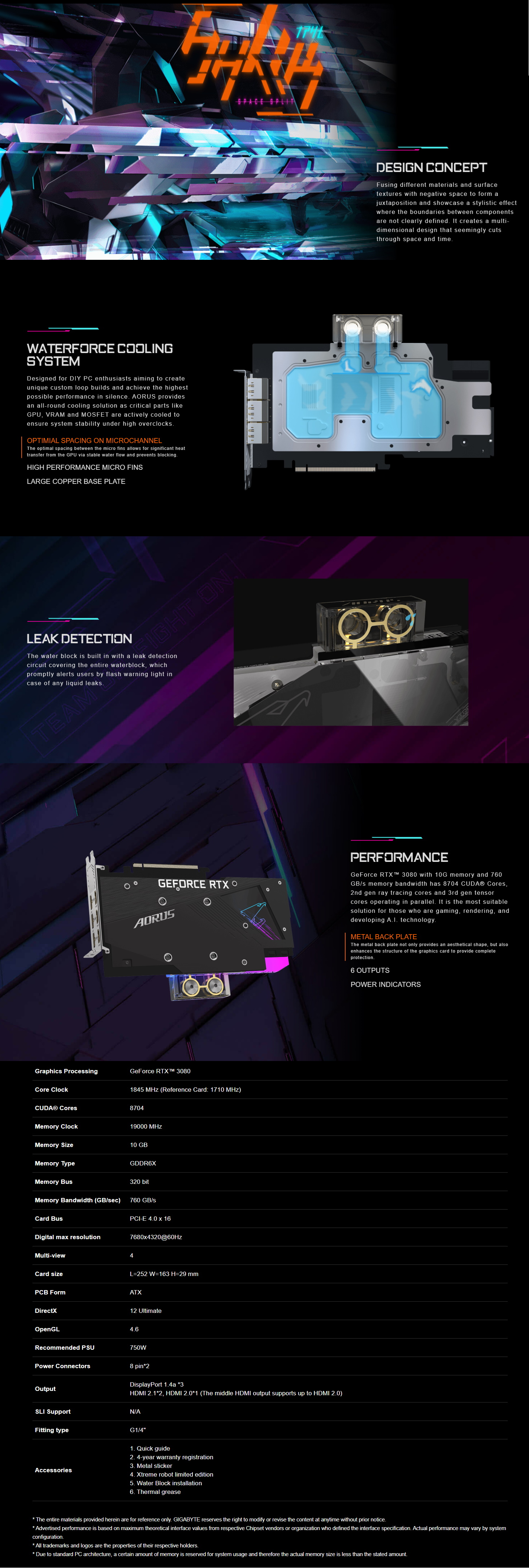 A large marketing image providing additional information about the product Gigabyte GeForce RTX3080 Xtreme Waterforce WB 10GB GDDR6X - Additional alt info not provided