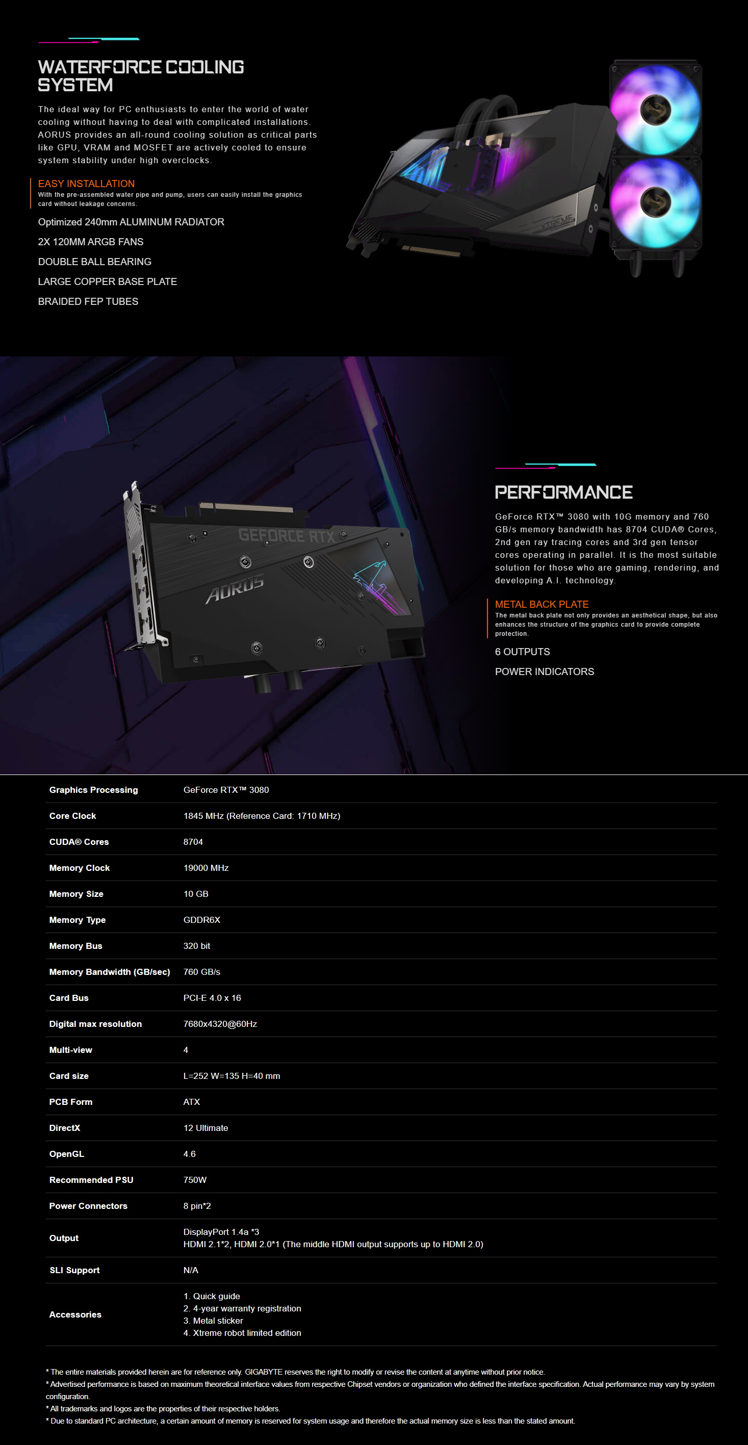 A large marketing image providing additional information about the product Gigabyte GeForce RTX3080 Xtreme Waterforce 10GB GDDR6X - Additional alt info not provided