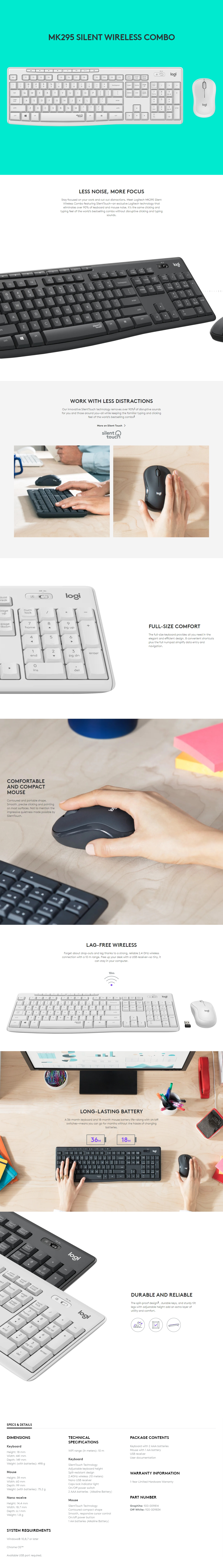 A large marketing image providing additional information about the product Logitech MK295 Silent Wireless Desktop Combo - Graphite - Additional alt info not provided