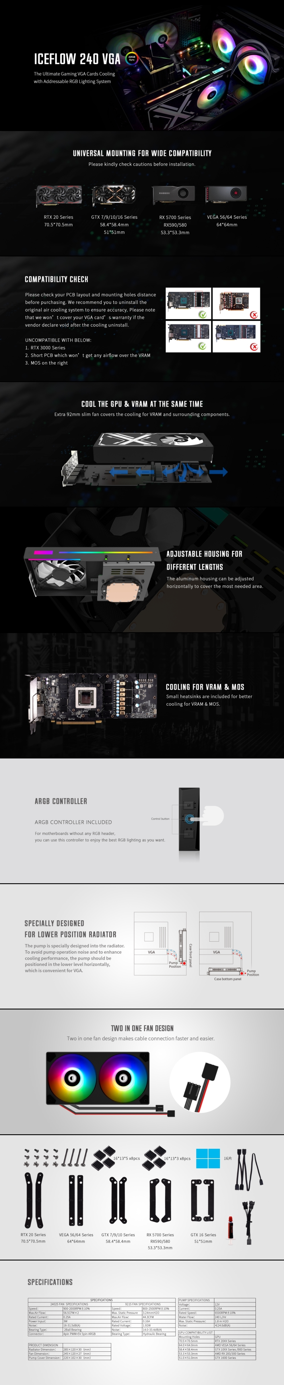 A large marketing image providing additional information about the product ID-COOLING IceFlow 240 AIO VGA Liquid Cooler - Additional alt info not provided