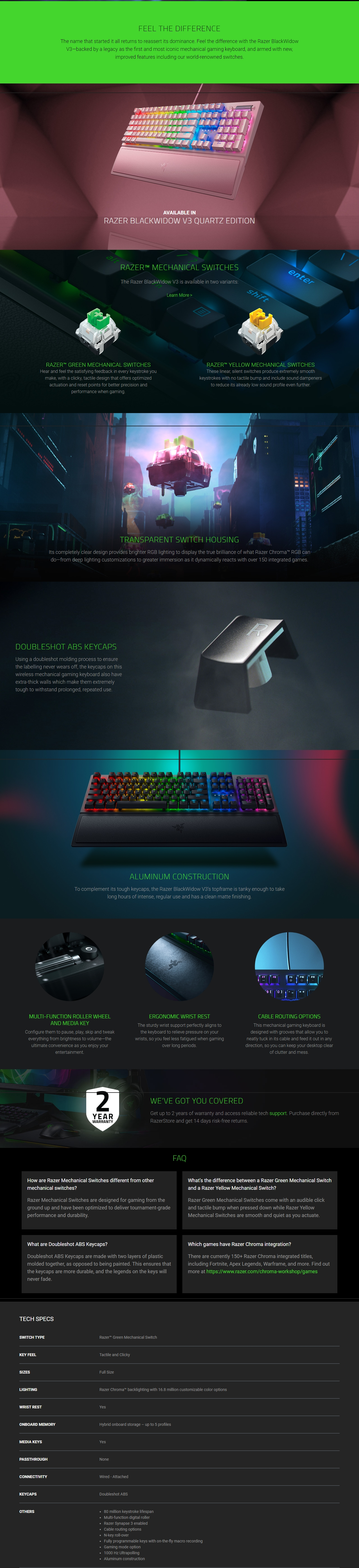 A large marketing image providing additional information about the product Razer Blackwidow V3 Mechanical Gaming Keyboard (Green Switch) - Additional alt info not provided