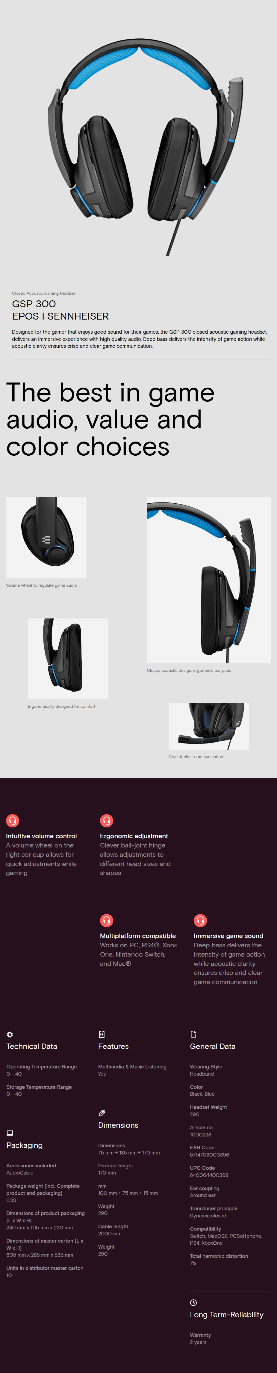 A large marketing image providing additional information about the product EPOS Gaming GSP 300 Gaming Headset - Additional alt info not provided