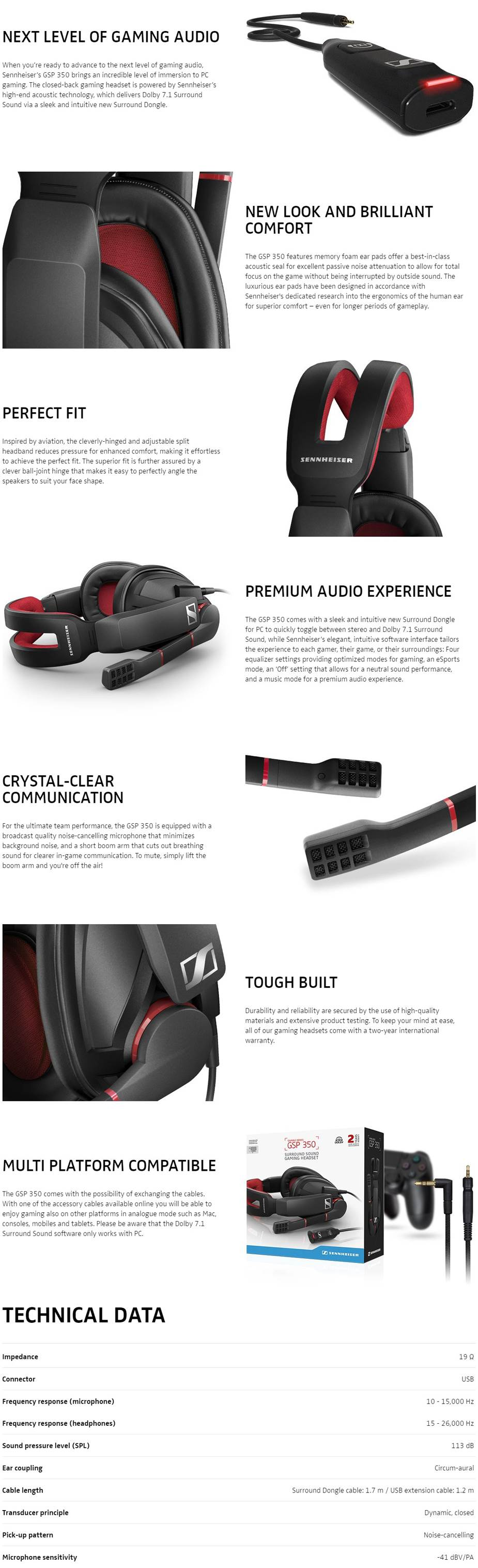 A large marketing image providing additional information about the product EPOS | Sennheiser Gaming GSP 350 Closed-Back 7.1 Gaming Headset - Additional alt info not provided