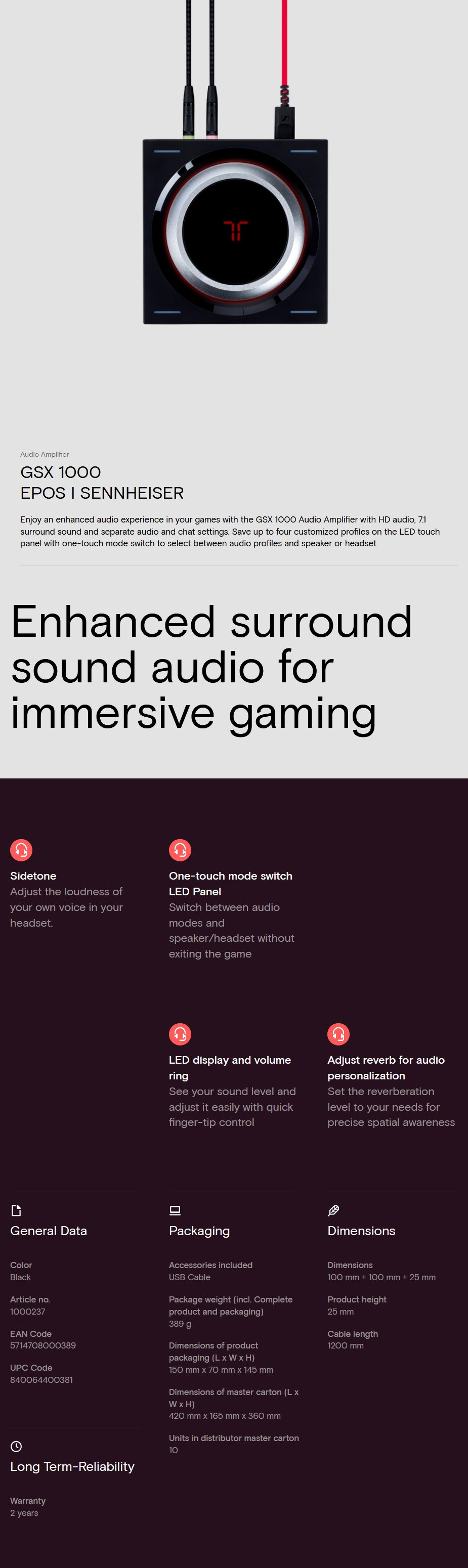 A large marketing image providing additional information about the product EPOS Gaming GSX 1000 Audio Amplifier - Additional alt info not provided