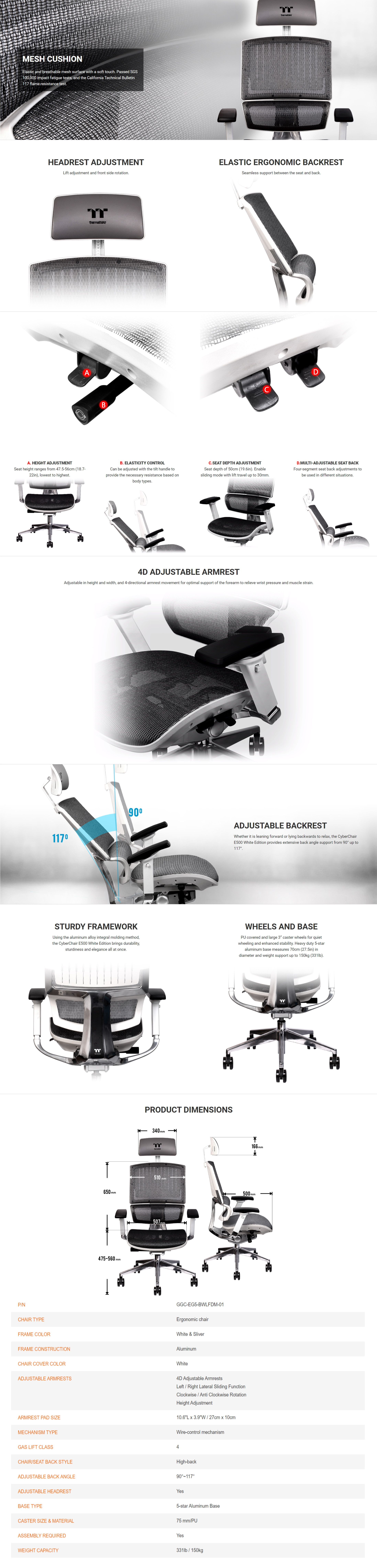 A large marketing image providing additional information about the product Thermaltake E500 CyberChair Ergonomic Gaming Chair White Edition - Additional alt info not provided