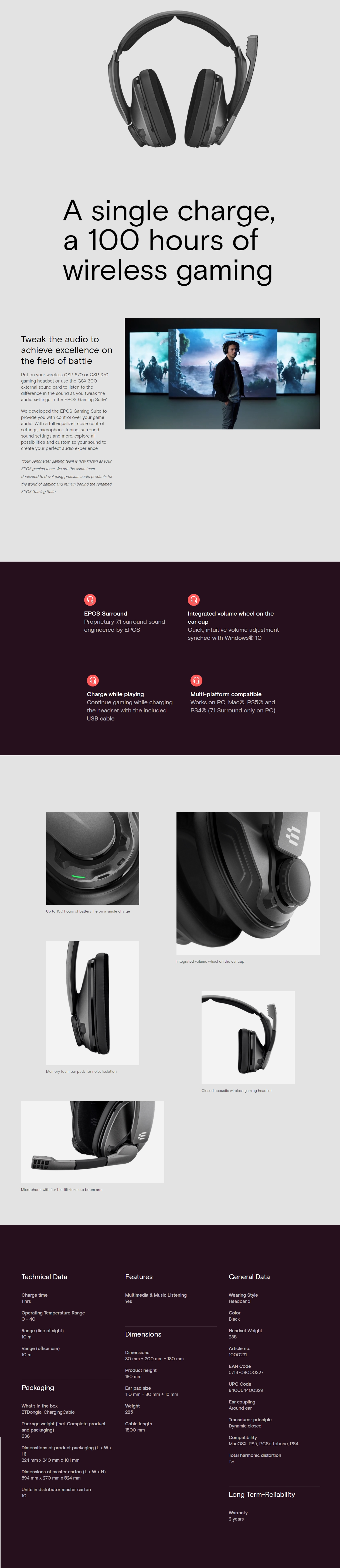 A large marketing image providing additional information about the product EPOS Gaming GSP 370 Wireless Gaming Headset - Additional alt info not provided