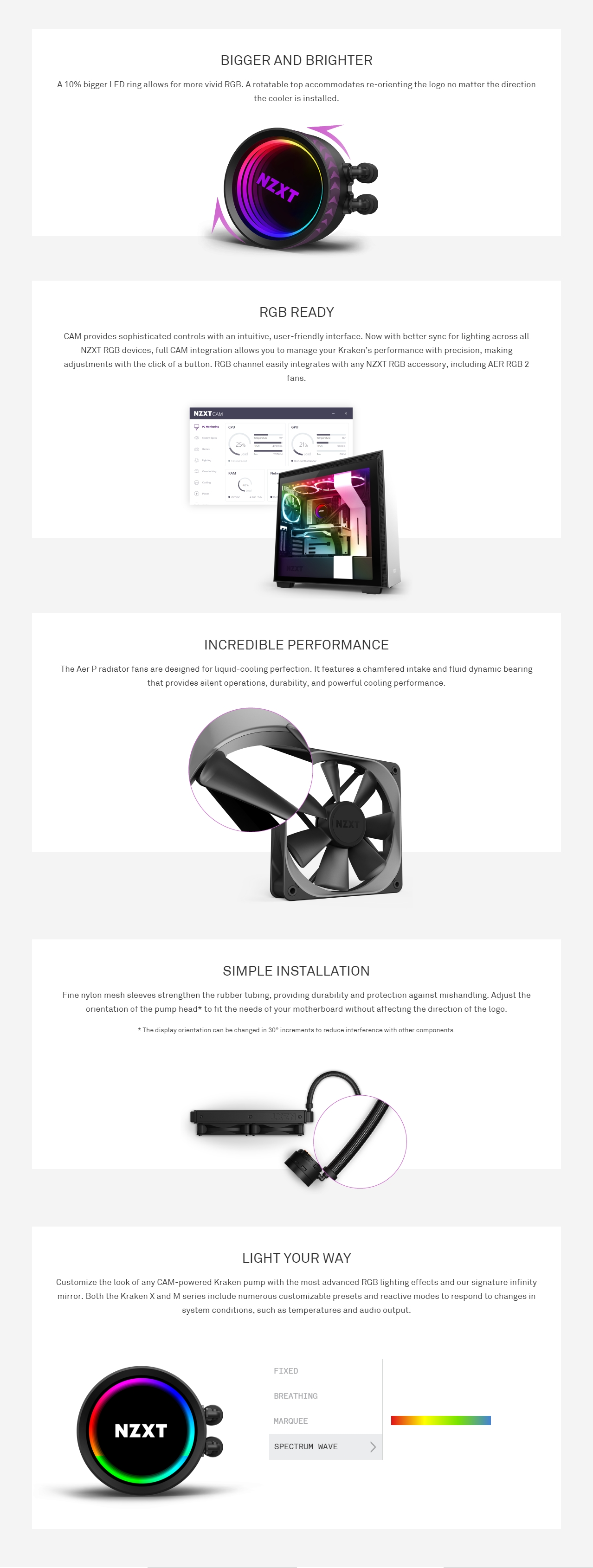 A large marketing image providing additional information about the product NZXT Kraken X53 RGB 240mm AIO Liquid CPU Cooler - Additional alt info not provided