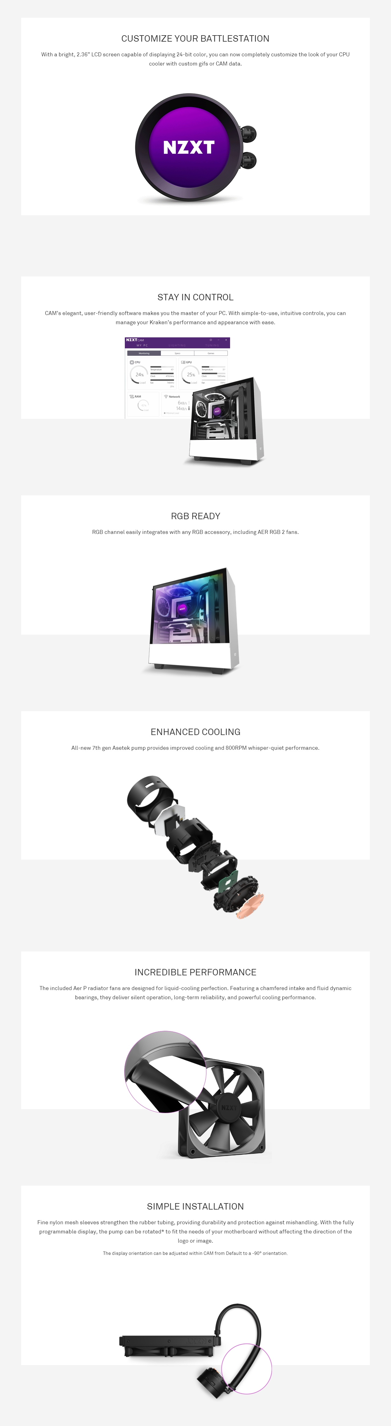 A large marketing image providing additional information about the product NZXT Kraken Z53 240mm AIO Liquid CPU Cooler - Additional alt info not provided