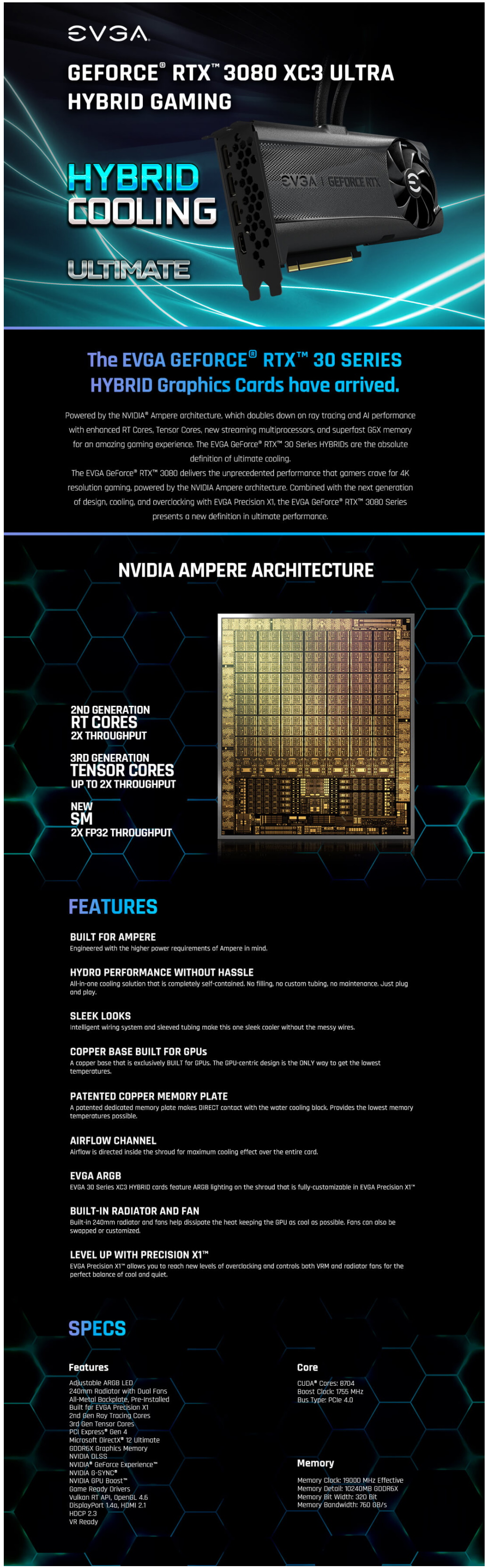 A large marketing image providing additional information about the product eVGA GeForce RTX 3080 XC3 Hybrid Ultra 10GB GDDR6X - Additional alt info not provided