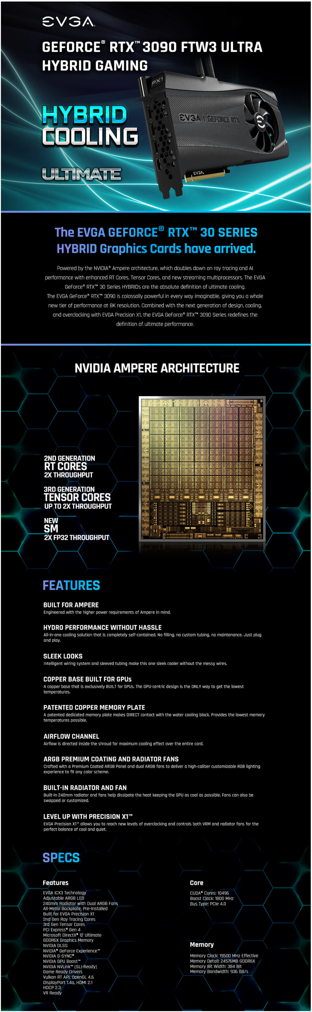 A large marketing image providing additional information about the product eVGA GeForce RTX 3090 FTW3 Hybrid Ultra 24GB GDDR6X - Additional alt info not provided