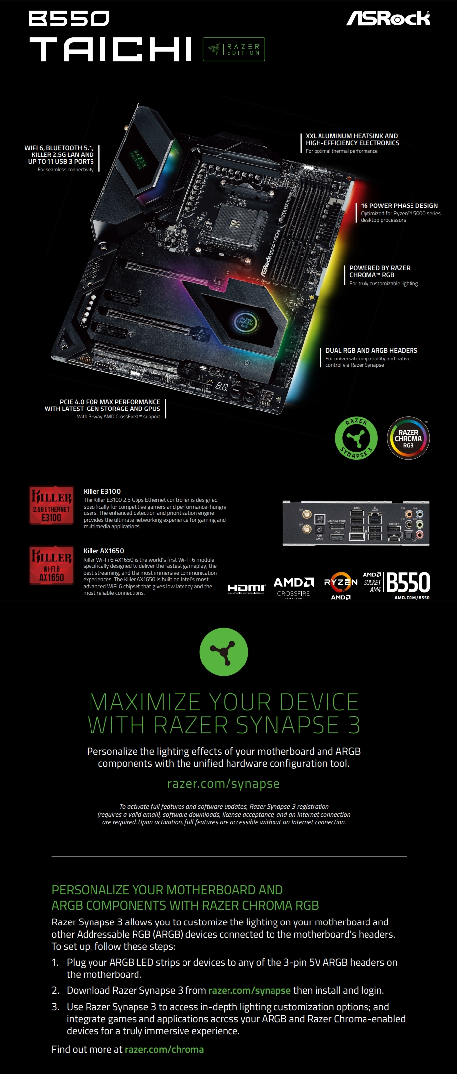 A large marketing image providing additional information about the product ASRock B550 Taichi Razer Edition AM4 ATX Desktop Motherboard - Additional alt info not provided